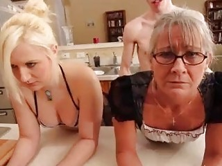 Two mature sluts get schooled by their younger fuck boy