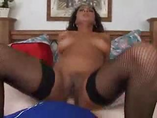 Horny Puerto Rican chick in stockings loves sex