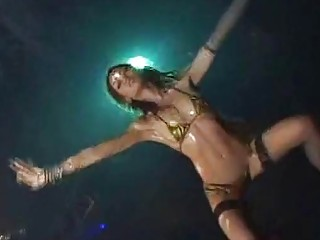 Oiled up amateur stripper dancing passionately
