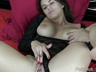 Seductive French babe with big tits masturbates for her webcam