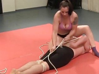 Mixed wrestling and kinky big tits babe wins