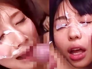 Censored Japanese bukkake clip with beauties