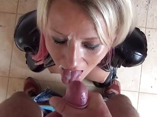 Gal in leather boots has hardcore banging and receives cum