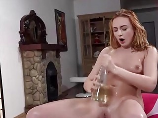 Seductive slut squirts in a really wild fetish cosplay show