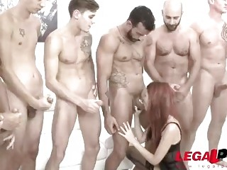 Impeccable redhead love getting fucked by as many guys possible