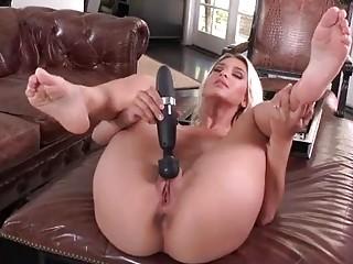 Blonde cute goddess using her toys to masturbate
