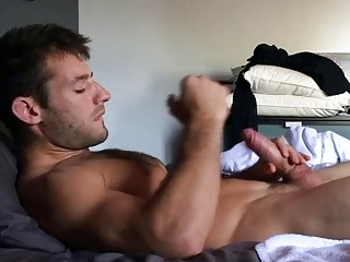 Hot guy is jerking off in his alone time