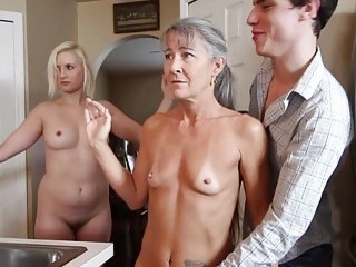 Mom with small tits has hardcore threesome with young couple