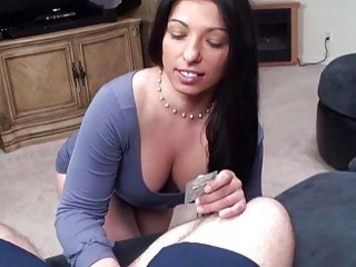 Bubbly brunette hooker shows her big tits and fucks hard