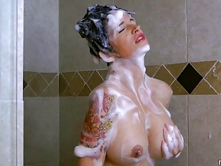 Mom takes a shower before her son fucks her
