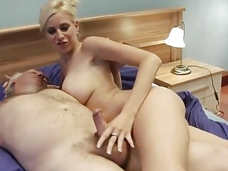 Big breasted blonde mom gets dicked by an old fart