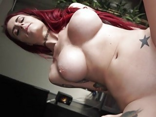 Busty redhead harlot bounces on thick cum gun in POV