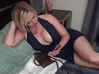 Blonde MILF with big tits sucks dick and bangs POV