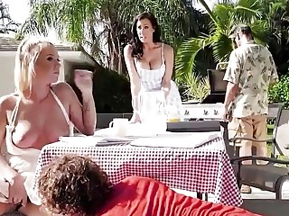 Raunchy babes with big tits have group sex in backyard