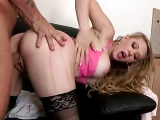 Buxom lady in stockings Kagney Linn Karter gets banged hard