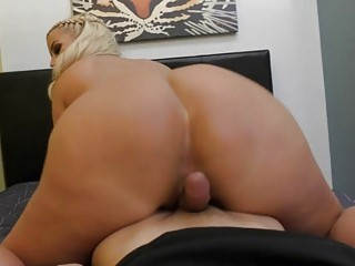 Blonde MILF bounces her big butt on a giant cock
