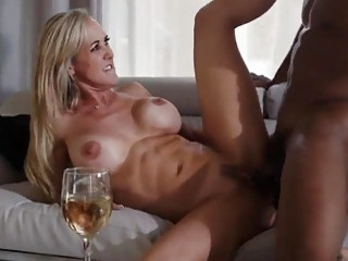 Slutty MILF with big tits has interracial dick riding session