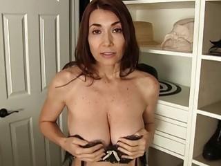 Slutty milf lets her son masturbate in front of her