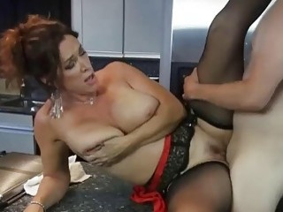 Brunette mom pounded in hardcore fashion for breakfast
