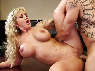 Horny blonde MILF gets nailed at the office