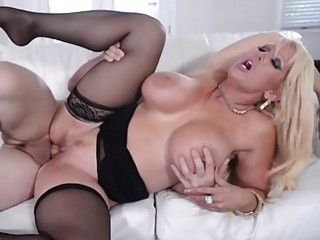 Blonde MILF in stockings gets a pounding she'll never forget