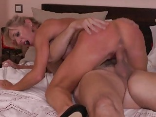 Desirable blonde wife cheats on her hubby with his friend
