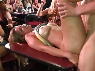 Horny beauties get to suck some dicks at a party
