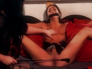 Teen gets punished by her mistress while she's tied up