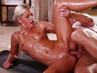 Astonishing blonde gets and oily massage before she's drilled