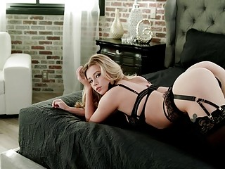 Blonde babe in lingerie has sensual sex after cock sucking