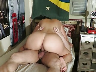 Sluty MILF with big ass bangs hardcore in all poses