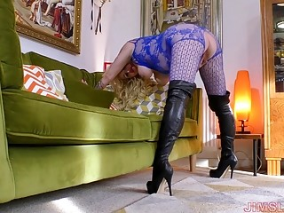 MILF in blue bodystockings and boots sucks and fucks hardcore