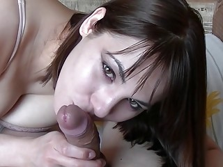 Cute amateur loves giving blowjobs until getting messy with cum