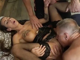 Filthy tattooed girl in stockings gives the best blowjob ever