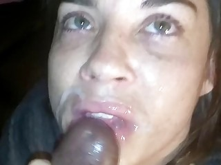 Slutty girl loves getting facials and sucking a big cock