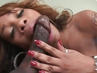 Gorgeous ebony adores sucking big black cock like a pro