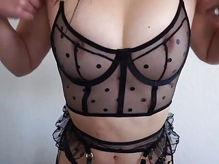 Naughty Asian girl gets naked and tries out slutty lingerie