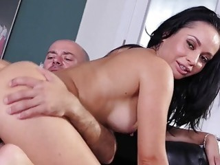 Pretty babes with big tits enjoy having their feet licked
